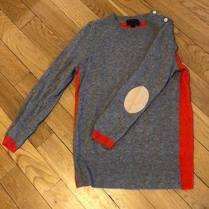 JCrew Orange and Grey Crew Neck Cashmere Sweater